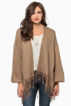brown cardi-cape with a fringe