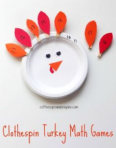 Clothespin Turkey Math Games for Kids! Would make a great fine motor and math busy bag! Thanksgiving Activities For Kids, Kids Learning Activities, Math For Kids, Autumn Activities, Preschool Activities, Kids Fun, Preschool Classroom, Math Games For Preschoolers, Thanksgiving Jokes