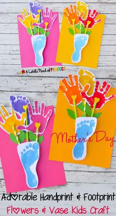 Cute Hand Prints and Foot Prints Flower Vase Mothers Day Card