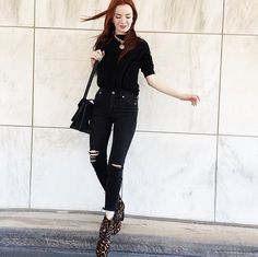 Jane Aldridge is supersleek in all black, letting her leopard-print booties take center stage. But without the set of slashes on her high-waisted skinnies, there's no doubt her ensemble would feel a little more expected.