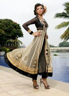 beautiful Anarkali, with net overlay