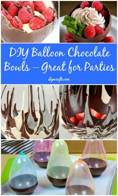 Chocolate bowls – what could possibly be better for parties? You can create your very own chocolate bowls to fill with candy, ice cream or anything else and it's really easy to do. You will need melted chocolate and a few relatively small balloons. Just wash and then blow up the balloons and... Fondue Au Chocolat, Delicious Desserts, Just Desserts, Yummy Food, Dessert Recipes, Egg Recipes, Melted Chocolate, Chocolate Cups, Chocolate Party