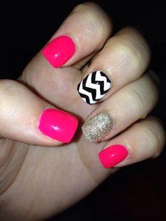 Pink glitter aztec nails!!