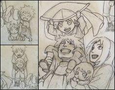 Naruto Uzumaki x Sakura Haruno / NaruSaku Family sketches for upcoming Naruto Movie The Last