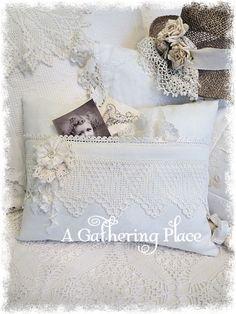 Vintage Crochet Lace Pocket Pillow - Pillows - A Gathering Place