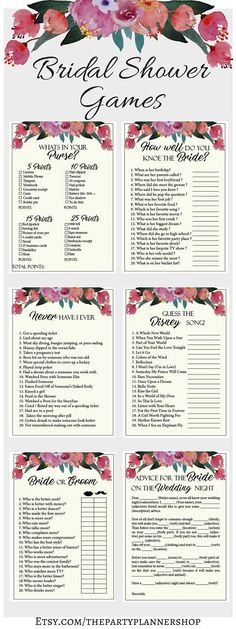 Floral Bridal Shower Games, 6 Printable Bachelorette Games, Bridal Shower Game, Hens Night Game, Par… (With images) Wedding Party Games, Hen Party Games, Bridal Games, Wedding Shower Games, Bridal Shower Party, Bridal Shower Decorations, Bridal Showers, Fun Games, Hens Night Decorations