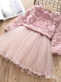 pictures with kids Cute Round Neck Tulle Long Sleeve Flower Girl Dresses Frocks For Girls, Kids Frocks, Dresses Kids Girl, Girls Party Dress, Kids Outfits, Dusty Pink Dresses, Dusty Rose Dress, Tulle Flower Girl, Flower Girl Dresses