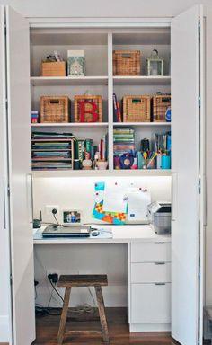 Trendy Home Office Nook Ideas Decor 41 Ideas Home Office Closet, Closet Desk, Cozy Home Office, Office Nook, Home Office Design, Home Office Decor, Home Decor, Office Ideas, Office Designs