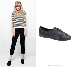 RED album photoshoot | October, 2012 Vintage Shoe Company 'Aubrey Oxfords in Black Harness' - $179.00 If it ain't broke, don't fix it. Taylor wears the brown versions of these shoes by Vintage Shoe...