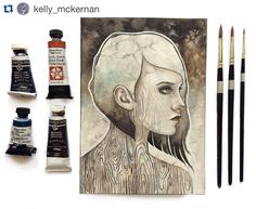 "Today on #everydayoriginal we have a brand new watercolor and gouache painting from @kelly_mckernan. Be sure to check out ""Weathered"" today while it's still available for purchase.  Here's another look at ""Weathered"" available now at everydayoriginal.com! #watercolor #gouache #everydayoriginal #art #portrait #drawing #illustration #paint #painting by everydayorig"