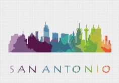 BOGO Cross Stitch Pattern San Antonio Texas Silhouette