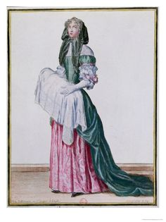 The Midwife, Late 17th Century Giclee Print by Nicolas Bonnart at eu.art.com. Mantua style of dress that was popular during the late-17th-early-18th centuries.