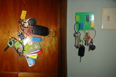 Genius! Attach a Lego block to your keys and stick a Lego plate to your wall. No need for key hooks.