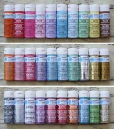 Martha Stewart craft paint: good for all crafting surfaces - glass to fabric, indoor and out, wood to metal - ONE PAINT! The colorful finishes include Satin, Glitter, Pearl, High-Gloss and Metallic.