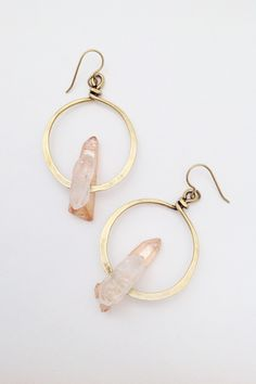 24K Aura Quartz Earrings by Lauren Collignon for Flaming Lotus Jewelry. These beautiful earrings feature an Aura quartz and crystal quartz stone on hammered 24k over sterling hoops with 24k over sterling ear wires. Handmade in Louisiana. $128.