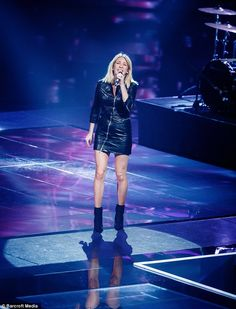 Legs eleven: Ellie showed off her incredible pins as she stormed the stage for yet another performance