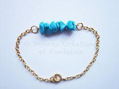 Bijou Bracelet chic doré fin perle turquoise par DoucesCreations