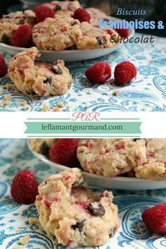 Biscuits moelleux aux framboises et chocolat | Le flamant gourmand Biscuit Cookies, Appetizers For Party, Granola, Muffins, Food And Drink, Breakfast, Cake, Desserts, Pains