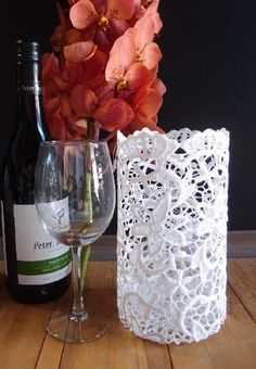 Stiffened Lace Vase and Wine Bottle Holder 8 inches Floral Design Supplies, Wholesale Gift Packaging Lace Vase, Lace Centerpieces, Lace Parasol, Wedding Table Linens, Lace Table Runners, Wedding Venue Decorations, Tea Party Bridal Shower, Lace Decor, Wine Bottle Holders