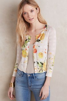 Citron Cardigan #anthropologie I used to have a great yellow sweater like this that I wore in the summer.