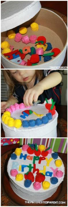 felt birthday cake out of an old hat box. This craft is perfect pretend play activity for your kids with storage built in. Could add nesting boxes for a tiered cake. Preschool Birthday, Birthday Crafts, Preschool Crafts, Birthday Ideas, Birthday Parties, Happy Birthday, Dramatic Play Area, Dramatic Play Centers, Toddler Play