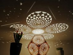 Selling my own made shadow lamps ! Different designs available. Please contact me for more information. Flower Of Life, Lamps, Ceiling Lights, Flowers, Design, Home Decor, Lightbulbs, Decoration Home, Room Decor