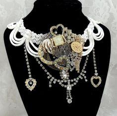 Formal steampunk necklace bridal neck piece by HopscotchCouture
