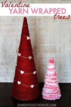 Give your home a punch of red and pink with these easy Yarn Wrapped Valentine Trees! Red homespun ya… Give your home a punch of red and pink with these easy Yarn Wrapped Valentine Trees! Red homespun yard and pink Funny Valentine, Valentine Tree, Valentine Day Love, Valentine Day Crafts, Holiday Crafts, Holiday Tree, Valentine Ideas, Christmas Holiday, Diy Valentine's Day Decorations