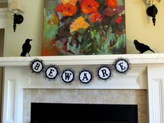 Beware Halloween Banner - Love the use of black tulle