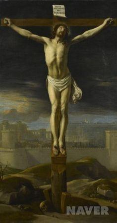 Le Christ en croix  필립 드 상페뉴의 작품이다. 내 개인적인 생각으로는 이 작품에 9세기 이후의 십자가에 못박힌 예수를 묘사한 작품의 전반적인 특성이 다 나타나있다고 생각한다. 먼저 앙상할만큼 드러난 갈비뼈와 움푹 패인 배에서 예수의 인간미를 강조했고, 9세기 이전과 달리 예수 주위의 인물을 전부 제거함으로써 쓸쓸한 예수의 모습을 잘 나타내었다. The Cross Of Christ, Statue, Painting, Art, Art Background, Painting Art, Kunst, Paintings, Performing Arts