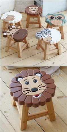Diy Wooden Projects, Small Wood Projects, Wooden Crafts, Wooden Diy, Woodworking Toys, Woodworking Projects Diy, Router Projects, Green Woodworking, Kids Stool