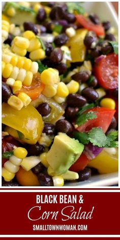 Black Bean and Corn Salad Black Bean Salad Corn Salad Fresh Corn Recipes Corn Recipes Black Bean Corn Avocado Salad Salad Relish Small Town Woman via Fresh Corn Recipes, Corn Salad Recipes, Relish Recipes, Corn Salads, Mexican Food Recipes, Vegetarian Recipes, Healthy Recipes, Garbanzo Bean Recipes, Summer Recipes