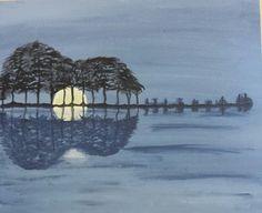 "Guitar ""Island Music"" Original Acrylic on canvas, Moonlight on water, 16x20, 55.00"