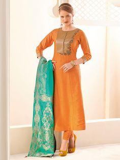 Shop Plain silk orange salwar suit online from G3fashion India. Brand - G3, Product code - G3-WSS00111, Price - 6495, Color - Orange, Fabric - Silk,