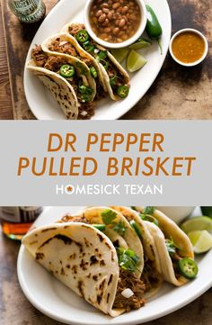 Dr Pepper brisket is beef slowly cooked in Dr Pepper with aromatics and chipotle chiles Beef Brisket Recipes Crockpot, Slow Cooked Brisket, Meat Recipes, Slow Cooker Recipes, Mexican Food Recipes, Tortilla Recipes, Pepper Recipes, Dinner Recipes, Pulled Brisket