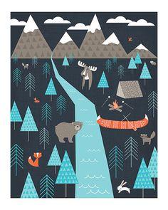 Happy Camper Art Print by EineKleineDS on Etsy, $18.00