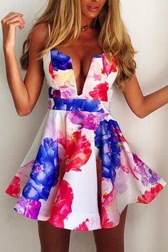 Sexy V-Neck Print Dress