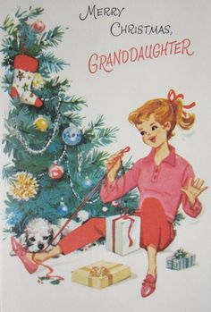 Vintage Christmas card - a little girl and her poodle unwrap gifts