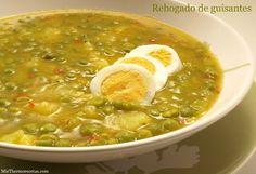 Rehogado de guisantes - MisThermorecetas.com Cocina Light, Cheeseburger Chowder, Curry, Soup, Ethnic Recipes, Portugal, Arrows, Pea Recipes, Frozen Peas