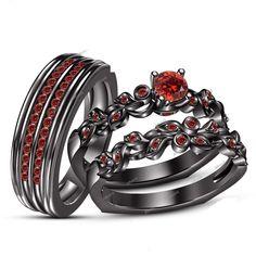 Round Garnet Trio Set Matching Engagement Ring Wedding Band 10K Black Gold Fn #affordablebridaljewelry
