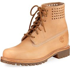 Timberland Limited Edition Bare Naked 6 Premium Boot (610 RON) ❤ liked on Polyvore featuring men's fashion, men's shoes, men's boots, tan, mens tan shoes, mens perforated leather shoes, timberland mens boots, mens tan leather boots and mens lace up shoes