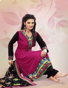 $66.36 Pink Full Sleeve Faux Georgette Long Anarkali Salwar Kameez 21492