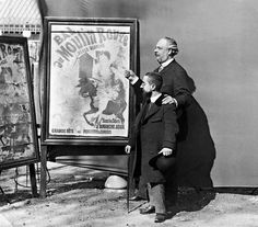 Toulouse-Lautrec with Tremolada (?), Director of the Moulin Rouge, ca.1889, with a poster by Chéret