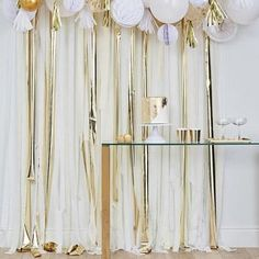 gold metallic party streamers backdrop by ginger ray - Modern Streamer Backdrop, Gold Backdrop, Crepe Paper Streamers, Party Streamers, Hen Party Decorations, Tissue Paper Decorations, Honeycomb Decorations, Baby Shower Decorations, Backdrop Decorations