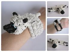 Loombicious 3D sheep bracelet Rainbow Loom - YouTube