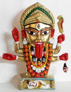 Goddess Kali from Kalighat, West Bengal - Brass Sculpture Mother Kali, Divine Mother, Mother Goddess, Indian Goddess Kali, Indian Gods, Om Namah Shivaya, Ancient Goddesses, Gods And Goddesses, Maa Kali Images