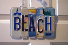 BEACH SIGN Recycled Repurposed Upcycled BEACH by KoolPlatez