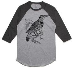 theIndie Lookout Bird (Black) 3/4-Sleeve Raglan Baseball T-Shirt