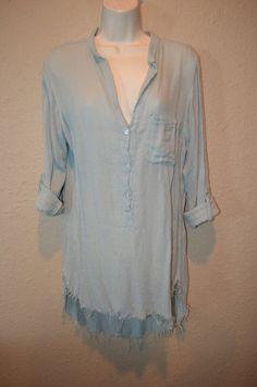 NWT $268 Sz M NSF Light Blue Sera Gauze Rolled Long Sleeve Blouse #NSF #Blouse #Casual