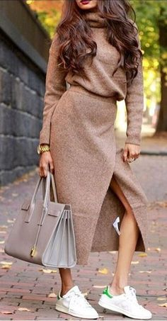 #fall #outfits Camel Turtleneck Open Dress // Grey Leather Tote // White Sneakers